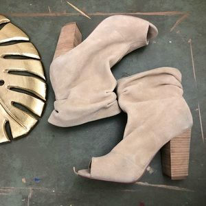 Nine West Suede Slouchy Peep Tie Booties 8